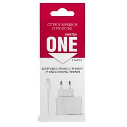 Сетевое зарядное устройство для Apple iPhone 5, 5C, 5S, 6, 6 plus, iPad 4, Air, Air 2, mini 1, mini 2, mini 3 (Smartbuy EZ-CHARGE SBP-3350) (белый)